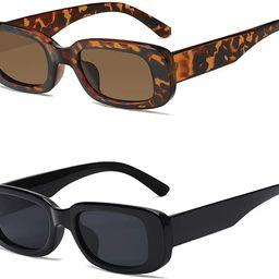 2 Pack Rectangle Sunglasses for Women- Vintage Sunglasses 90s Sunglasses for Women Retro Black an...   Amazon (US)