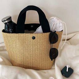 LEUCHTEN Ladies Rattan Handbags Summer Beach Straw Bag Wicker Woven Large Tote Bucket Bag   Walmart (US)