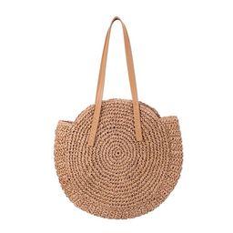 Chinatera Women Summer Straw Round Shoulder Bags Big Capacity Beach Handbags/Khaki   Walmart (US)