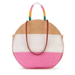 Time & Tru Striped Straw Circle Tote Bag with Inner Slip Pocket   Walmart (US)