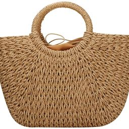 Straw Bags for Women,Hand-woven Straw Large Bag Round Handle Ring Tote Retro Summer Beach Rattan ...   Amazon (US)