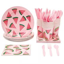 Juvale Serves 24 Watermelon Party Supplies for Summer, BBQs, Birthdays - Paper Plate, Napkin, Cup... | Target