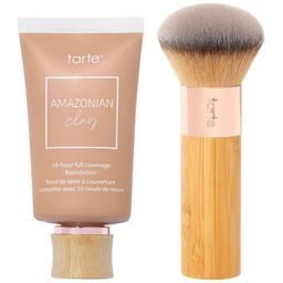 tarte Amazonian Clay 16-Hr Full Coverage Foundation with Brush | QVC
