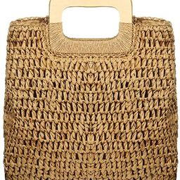 Straw Tote Bag Women Hand Woven Large Casual Handbags Hobo Straw Beach Bag with Lining Pockets fo... | Amazon (US)