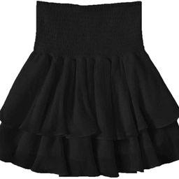 SheIn Women's Solid Shirred High Waist Layered Ruffle Hem Flared Mini Skirt | Amazon (US)
