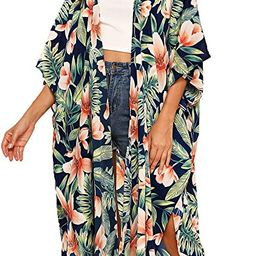 SweatyRocks Women's Flowy Kimono Cardigan Open Front Maxi Dress | Amazon (US)