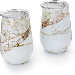 Outset Marble Wine Tumbler with Lid, 12 oz, White, Copper, Set of 2 | Amazon (US)