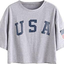 SweatyRocks Women's Letter Print Crop Tops Summer Short Sleeve T-Shirt | Amazon (US)