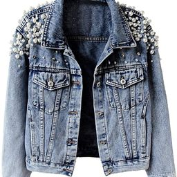 KEDERA Women's Embroidered Rivet Pearl Short Denim Jacket Coat   Amazon (US)