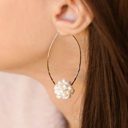 Pearl Flower Ball Hoops   $52.00  $52.00    DETAILS: Pearls, Gold plated Length... | Vivian Drew