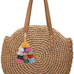 Straw Bag, Summer Beach Straw Bag For Women, Round Beach Straw Purse Large Capacity Woven Tote Ba... | Amazon (US)