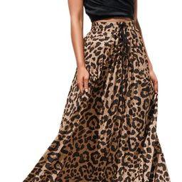 Womens Maxi Skirt Leopard Print Chiffon Beach Pleated High Waisted A-Line Long Skirts | Amazon (US)