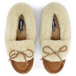 Women's Suede Leather Shearling Fur Moccasin Slippers | Lands' End (US)