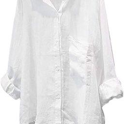 Minibee Women's Casual Cotton Linen Blouse Plus Size High Low Shirt Long Sleeve Tops | Amazon (US)