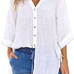 Womens Loose Blouses Early Autumn Cotton Linen Button Down Long Shirt Dress Roll Up Sleeve Casual... | Amazon (US)
