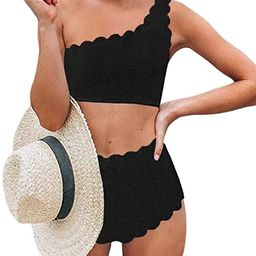 Aleumdr Womens Vintage High Waisted Two Pieces Scalloped Trim One Shoulder Bikini Bathing Suit | Amazon (US)