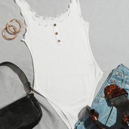 SHEIN Lettuce Trim Button Front Tank Bodysuit | SHEIN