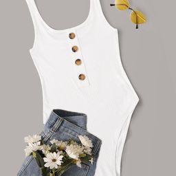SHEIN Button Front Rib-knit Tank Bodysuit | SHEIN