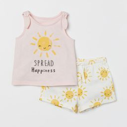 Set with a tank top and shorts in soft cotton jersey with a printed design. Tank top with attache...   H&M (US)