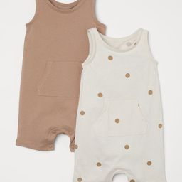 Sleeveless romper suits in soft, organic cotton jersey. Kangaroo pocket, short legs and snap fast... | H&M (US)