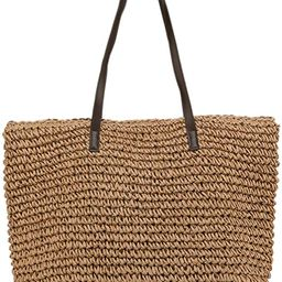 ILISHOP Women's Classic Woven Straw Tote Summer Beach Weaving Handbag Shoulder Bag   Amazon (US)