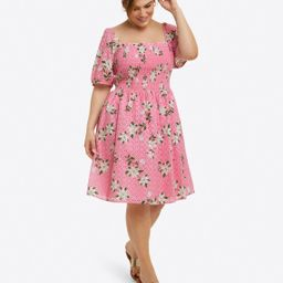 Puff Sleeve Babydoll Dress in Magnolia   Draper James (US)