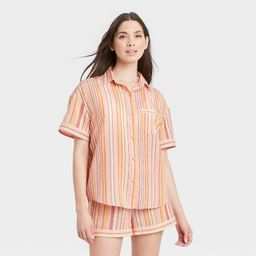 Women's Striped Simply Cool Short Sleeve Button-Up Shirt - Stars Above™ Coral | Target