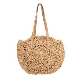 HOTBEST Woven Rattan Bag Round Straw Shoulder Bag Beach Handbags Women Hollow Handmade Messenger ... | Walmart (US)