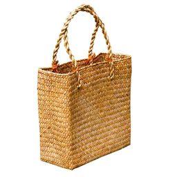 GeweYeeli Rattan Handbag Weave Bag Casual Straw Braided Large Storage Basket Fashion Three-dimens... | Walmart (US)