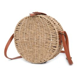 Women Handwoven Round Rattan Cross Body Bags Beach Summer Shoulder Straw Bag | Walmart (US)