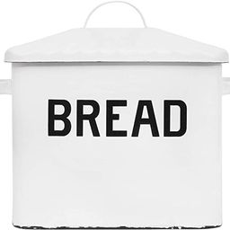 Creative Co-Op Enameled Metal Handles Rustic Farmhouse Storage Décor for Kitchen, White Bread Bo... | Amazon (US)