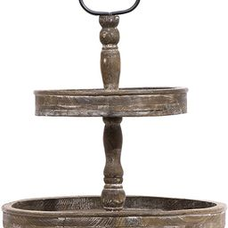 Creative Co-Op Distressed Brown Wood Metal Handle Two-Tier Tray | Amazon (US)