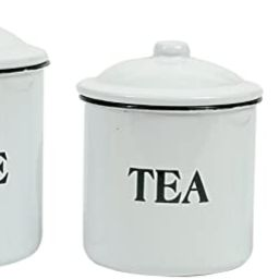 Creative Co-op Metal Containers with Lids, Coffee, Tea, Sugar (Set of 3 Sizes/Designs) Food Stora... | Amazon (US)