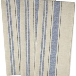 """DII Cotton Oversized French Stripe Dish Towels, 20 x 30"""" Set of 3, Monogrammable Country Farmhous... 