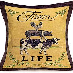 Smilyard Rustic Farmhouse Pillow Covers Farm Animal Rooster Pig Cow Decorative Pillow Case Cushio... | Amazon (US)