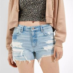 AE High-Waisted Denim Tomgirl Midi Short | American Eagle Outfitters (US & CA)