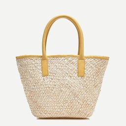 Woven tote with leather trim   J.Crew US