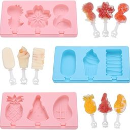 Popsicle Molds, HomLeaFac Silicone Ice Pop Molds with Lids Packs of 3x3 cubs for Kids,Reusable Ic... | Amazon (US)