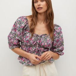 Printed puff sleeve blouse   MANGO (US)