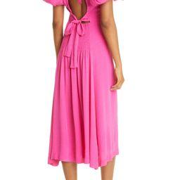Dawn Puff Sleeve Open Back Jacquard Dress   Nordstrom