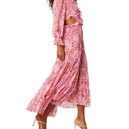MISA Los Angeles Amelia Side-Cutout Midi Floral Dress   Neiman Marcus