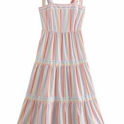 'Urbana' Rainbow Striped Tied Midi Dress   Goodnight Macaroon