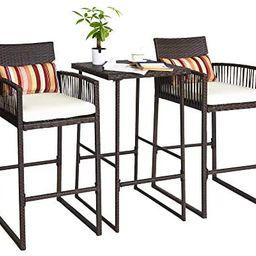 Aura Outdoor 3 Piece Patio Bar Set, Bar Height Bistro Table Set of 3, High Top Wicker Bar Stools ... | Amazon (US)