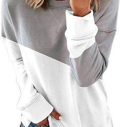 Womens Crewneck Sweatshirts Long Sleeve Shirts Loose Pullover Tops Shirts | Amazon (US)