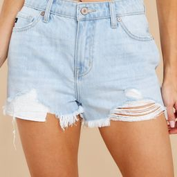 Here's To Today Light Wash Distressed Denim Shorts   Red Dress