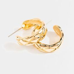 Tanya Quilted Small Hoops - Gold | Francesca's Collections