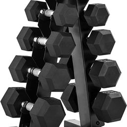CAP Barbell 150-Pound Dumbbell Set with Rack, Multiple Options | Amazon (US)