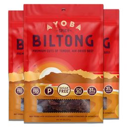 Ayoba Spicy Biltong - Grass Fed, Keto and Paleo Certified Air-Dried Beef Snack - Better Than Jerk... | Amazon (US)