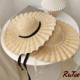 Large Brim Ribbon Straw Hat ,Summer Hats For Women,  Beach Cap With Ribbon,  Dome Top Sun Beach H...   Etsy (AU)