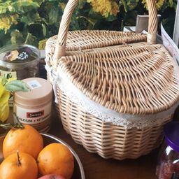 Classic wicker handwoven basket with lid,Straw weaving basket, picnic basket,oval storage box, Ut...   Etsy (AU)